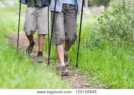 High angle view of couple hiking on field amidst grass