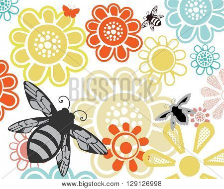 Summer garden flowers with bees