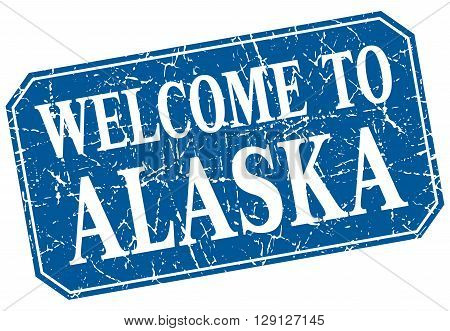 welcome to Alaska blue square grunge stamp