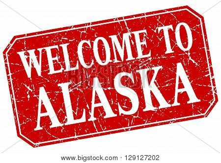 welcome to Alaska red square grunge stamp
