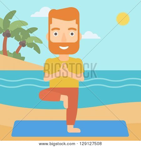 Man practicing yoga.