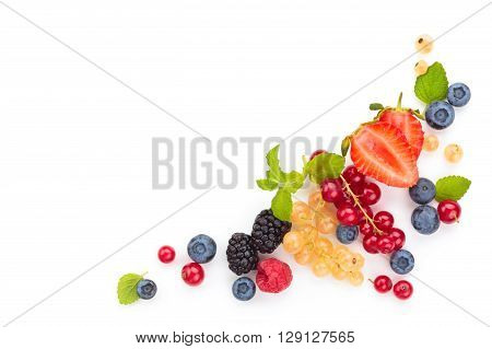 Assorted fruits and leaves. Isolated on white background.