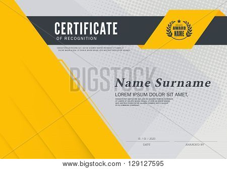 Certificate of achievement frame design template Vector illustration of yellow detailed certificate