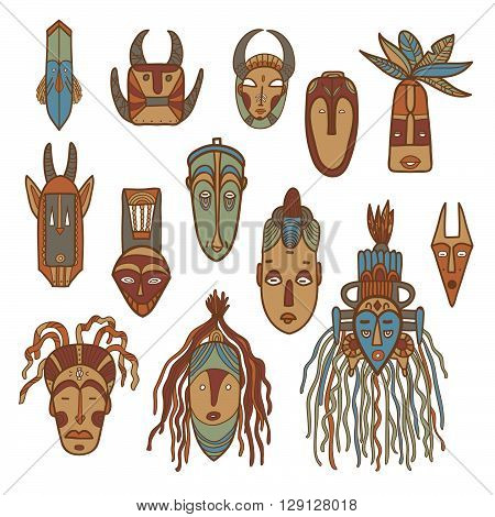 Hand drawn african masks. Colored vector set.