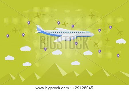 The Plane On A Background Map Of The World. Flat Vector Web Banner On The Theme Of Travel By Airplan
