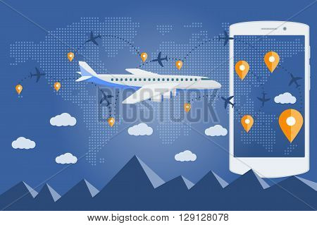 Flat Transport, Transportation, Travel. Vector Web Banner On The Theme Of Travel By Airplane, Vacati
