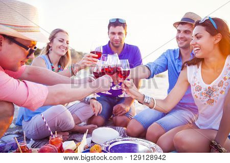 People holding glasses of red wine making a toast at the beach picnic