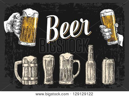 Two hands holding beer glasses mug. Glass can bottle. Vintage vector engraving illustration for web poster invitation to beer party. Hand drawn design element isolated on dark background.
