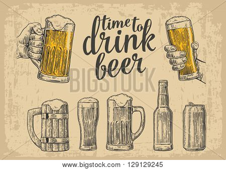 Two hands holding beer glasses mug. Glass can bottle. Vintage vector engraving illustration for web poster invitation to beer party. Hand drawn design element isolated on beige background