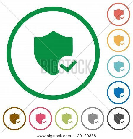 Set of Protection ok color round outlined flat icons on white background