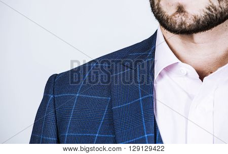 Detail Of A Blue Suit Jacket On A Man