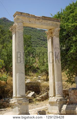 Gate of Hadrian's in Ephesus in Izmir,  Turkey