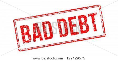 Bad Debt Red Rubber Stamp On White
