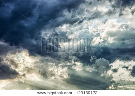 Dramatic stormy sky. Natural scene. Dark and light tones. Beauty in nature.