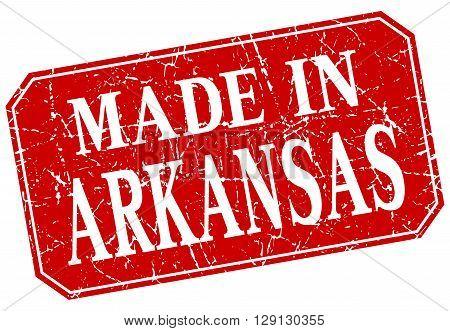 made in Arkansas red square grunge stamp