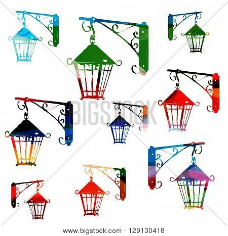Vector illustration of colorful streetlamps isolated on white