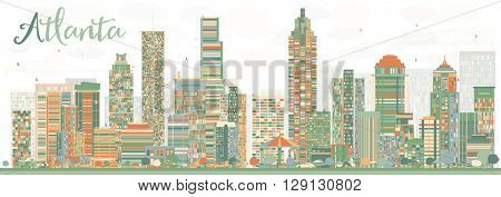 Abstract Atlanta Skyline with Color Buildings. Vector Illustration. Business Travel and Tourism Concept with Modern Buildings. Image for Presentation Banner Placard and Web Site.