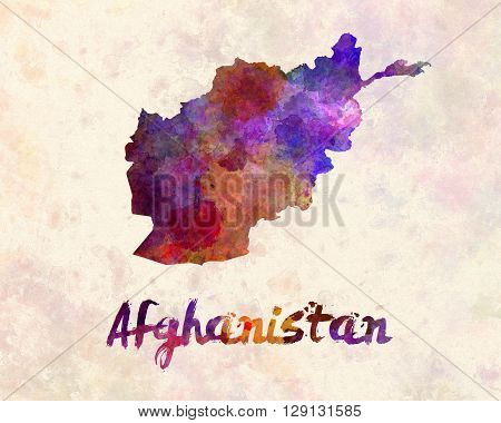 Afghanistan map in artistic abstract watercolor background