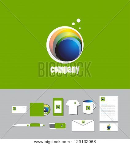 Corporate identity vector company logo icon element template circle colors blue green orange abstract