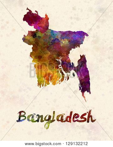 Bangladesh map in artistic abstract watercolor background