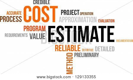 A word cloud of cost estimate related items