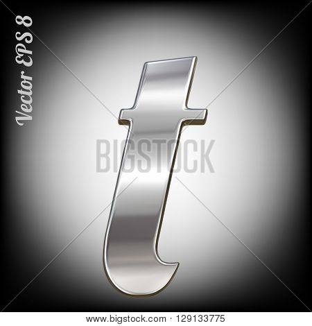 Vector letter t from metal alphabet. Lovercase metal font collection. EPS 8