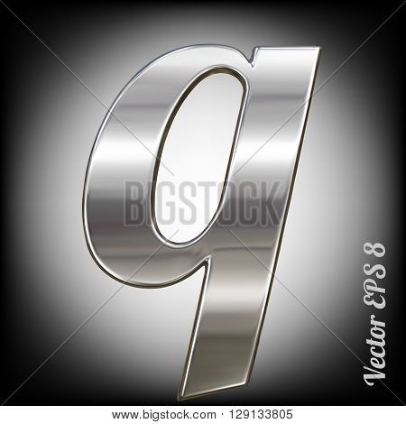 Vector letter q from metal alphabet. Lovercase metal font collection. EPS 8