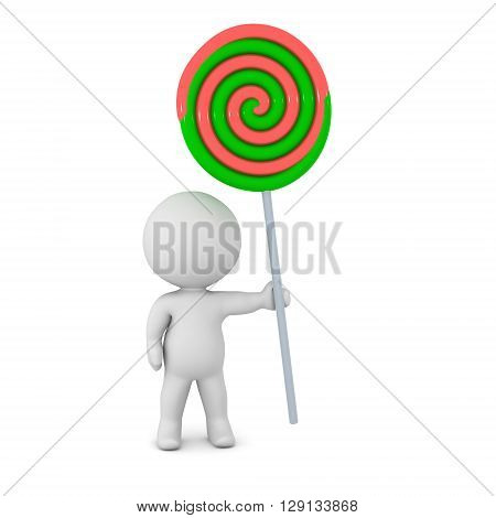 A 3D character holding a large colorful lolipop. Isolated on white background.