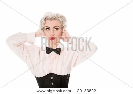 Worried Cute Retro Girl, Pulling Face, With Space For Text, Horizontal Format, Isolated On White