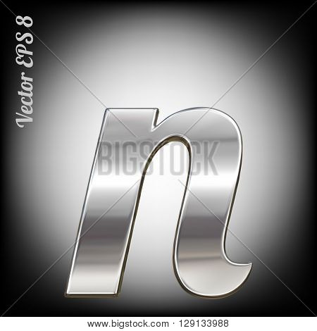 Vector letter n from metal alphabet. Lovercase metal font collection. EPS 8