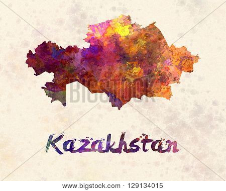 Kazakhstan map in artistic abstract watercolor background