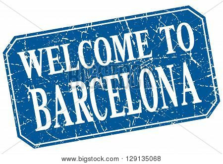 welcome to Barcelona blue square grunge stamp