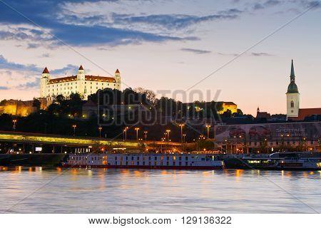 BRATISLAVA, SLOVAKIA - MAY 06, 2016: View of Bratislava over river Danube, Slovakia on May 06, 2016.