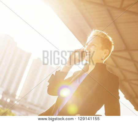 Businesswoman Lifestyle Using Mobile Phone Connection Concept