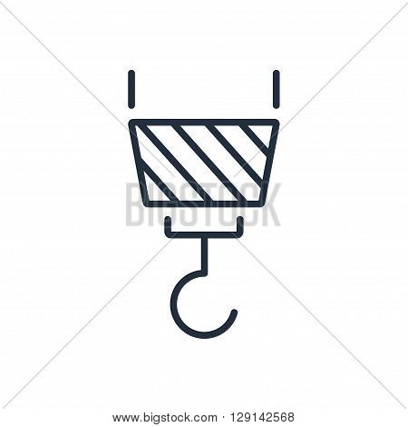 Vector icon of crane hook in thin line style. Vector illustration.
