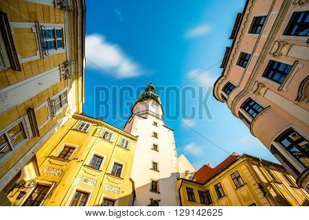 Famous St. Michaels watch tower in the old town of Bratislava city, Slovakia ** Note: Shallow depth of field