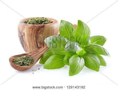 Basil leaves with basil dry