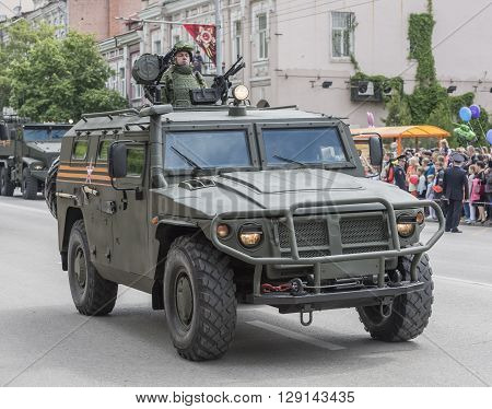 ROSTOV-ON-DON RUSSIA- MAY 09- Military parade in honor of the 71 th anniversary of Victory in Great Patriotic War (the end) on May 092016 in Rostov-on-Don