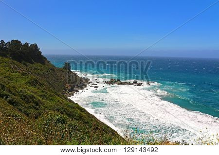 Land and sea scenery along California's Hwy 1 in the Big Sur Region