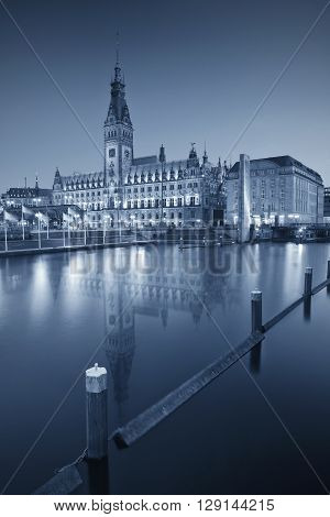 Hamburg. Toned image of Town Hall in Hamburg downtown during the night.