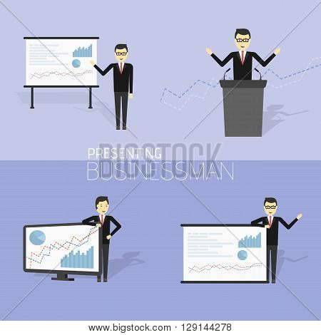 Businessman in formal suit is giving a presentation and showing graphs. Cartoon character - cute businessman. Report, training. Stock vector illustration in flat design.