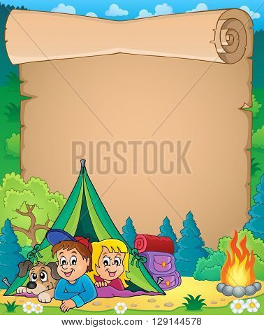 Camping theme parchment 3 - eps10 vector illustration.