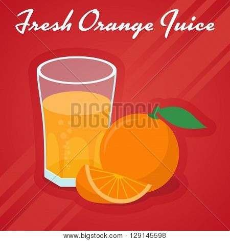 Vector Fresh Orange Juice - the juice in a glass and cuts sweet orange. Illustration on red background