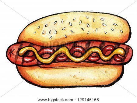 Hand drawn watercolor illustration of hot dog with mustard, ketchup and grill marks. Isolated on the white background, food drawing