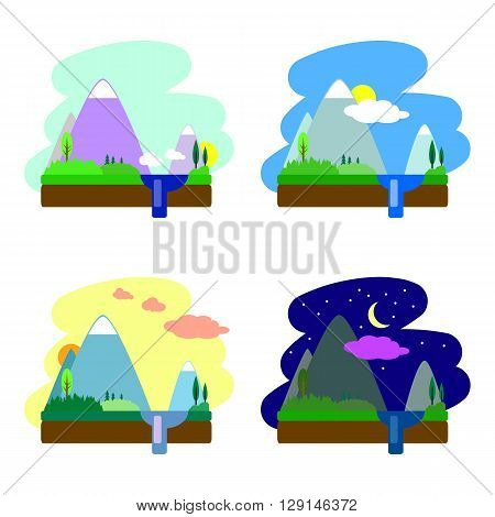Flat landscape vector illustration, day and night nature landscape, flat pictures for morning, daytime, evening and night, flat landscape with mountain, lake, hills and forest, flat summer landscape