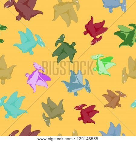 Cartoon flying dinosaur. Seamless series for young children