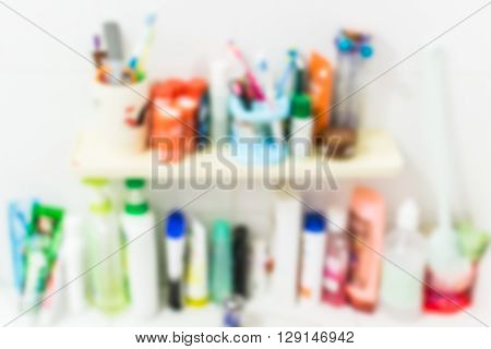 Blurred sanitation product in the bathroom for background