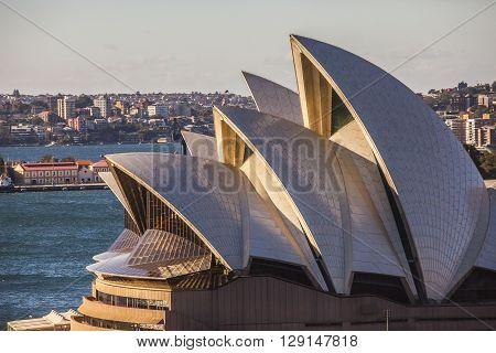 Sydney, Australia - May 15, 2015: Sydney Opera House  With Early Morning Sunlight