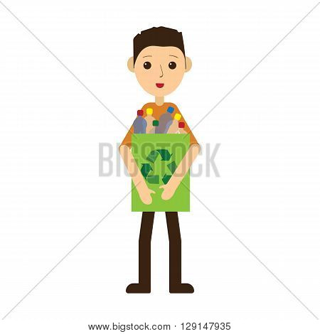 Man recycling plastic bottles. Standing and smiling. Flat style vector illustration isolated on white background.