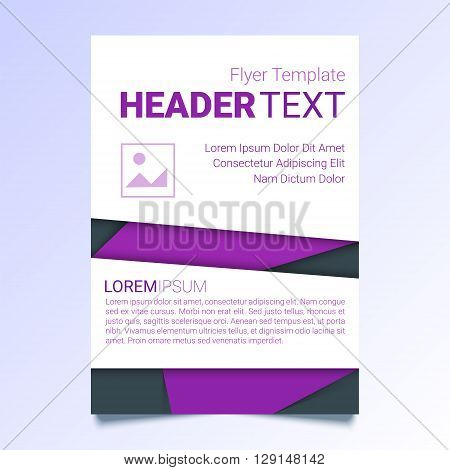 Creative purple flyer vector template in A4 size. Modern poster brochure business template trendy report cover in a material design style. Abstract geometrical vector illustration